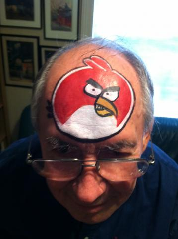 Angry bird face paint design