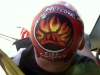 Florida State fair firefighter design painted on head
